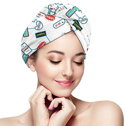 Happy Camper With Arrow Microfiber Hair Towel Wrap for sale  Delivered anywhere in USA