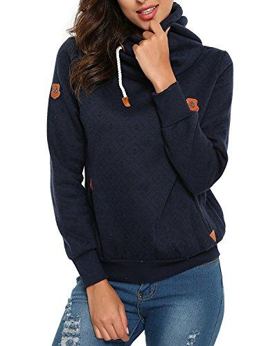 ZANZEA Women Long Sleeve High Necked Pockets Pullover Hoodies Sweatshirts Coats (US 10, Anchor Dark Blue)