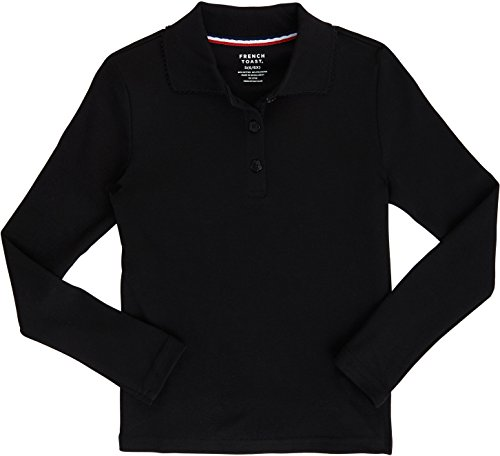 (French Toast School Uniform Girls Long Sleeve Polo Interlock with Picot Collar, Black, Medium (7/8))