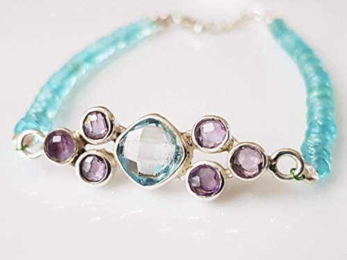 Dainty Blue Topaz & Amethyst Gemstone Pendant Bracelet with Blue Apatite Beads and 925 Silver findings 6.50