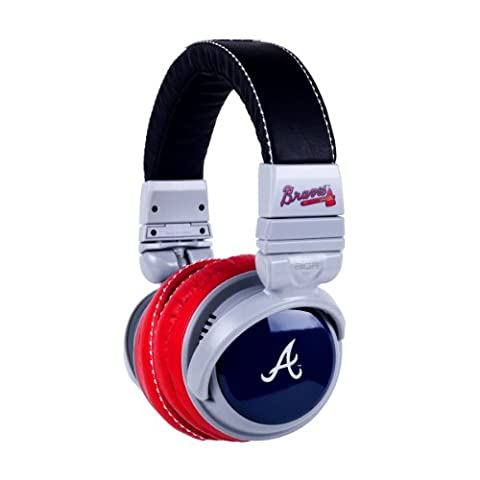 BiGR Audio MLB Licensed Over-ear Headphones with Mic, Atlanta Braves (Bigr Audio Cable)