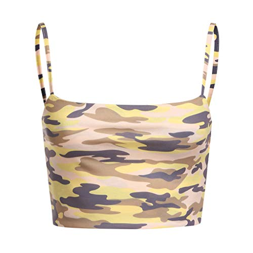 NUWFOR Women Camouflage Sleeveless Tank Top Bustier Bra Vest Crop Blouse Camis Tops(Yellow,US L Bust:24.6-36.2'') by NUWFOR (Image #3)