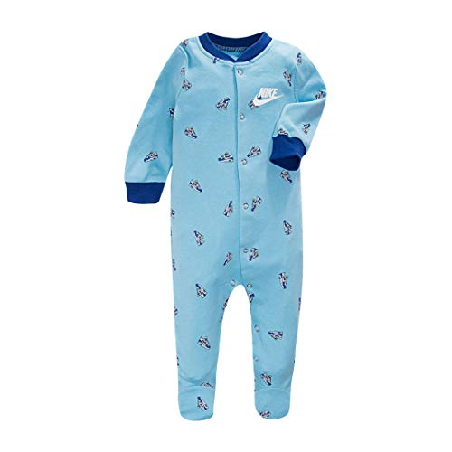 Nike Infant/Toddler Printed Footed Coverall (Blue Gaze(56E199-C3L)/White, 6 Months)