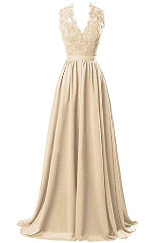 Nina V-neck Long Chiffon open Back Bridal Prom Evening Dress Champagne 18W