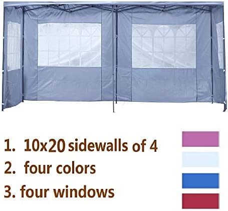 LEISURELIFE Canopy Party Tent Replacement 10X20 Sidewalls of 4 , White Pink Blue Red