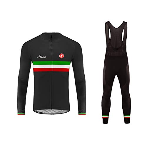 Uglyfrog Wear Long Bicycle Suits Mens Thermodream Cycling Jersey Full Sleeve Thermal Roubaix Cycling Jacket Long Bib Pant with Gel Pad National Flag Stripe Designs Winter Style