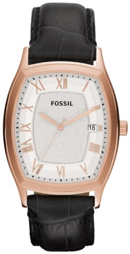 Mens Fossil White Silver Dial - FS4739 Fossil Ansel Leather Mens Watch - Silver Dial