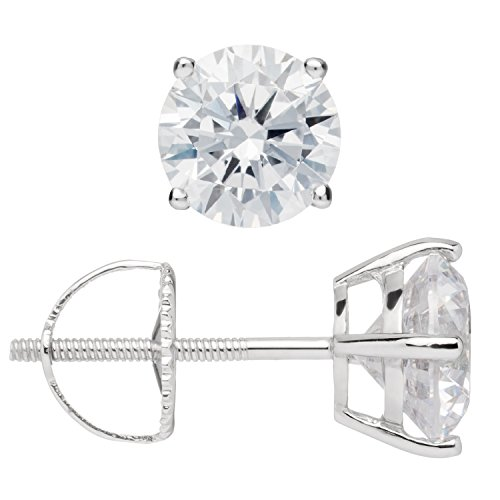 Everyday Elegance | 14K Solid White Gold Round Cut Cubic Zirconia Stud Earrings | 1.8 ctw | Screw Back Posts | With Gift Box Diamond Shape Post Earrings
