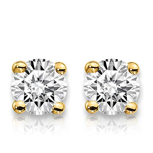 (2 Carat Lab Grown Diamond Stud Earrings (GHI Color, SI1/SI2 Clarity) Set in 14k Gold (Yellow-Gold))