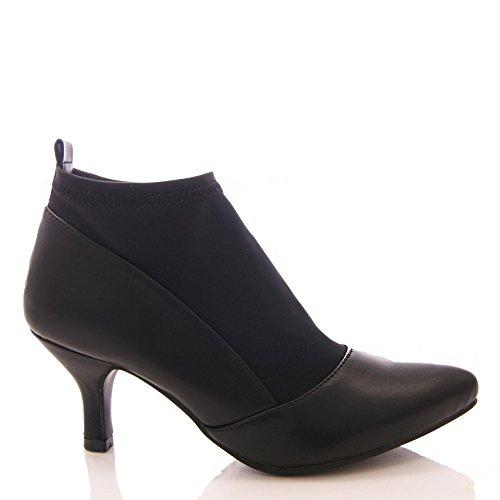 Zapatos Trabajo Lycra Oficina Alto Gatito Talla Elástico Tacón Mujer Botines Baja Negro De Fzwz8q6