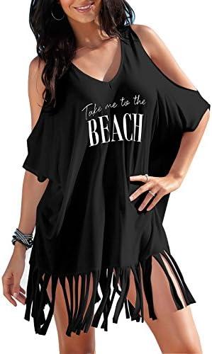 Rainlover Womens Letters Print Baggy Swimwear Bikini Cover-ups Beach Dress