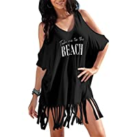 rainlover Womens letras imprimir Baggy Swimwear Bikini COVER-UPS la playa vestido