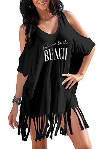 Rainlover Womens Letters Print Baggy Swimwear Bikini Cover-UPS Beach Dress (BB-Black)