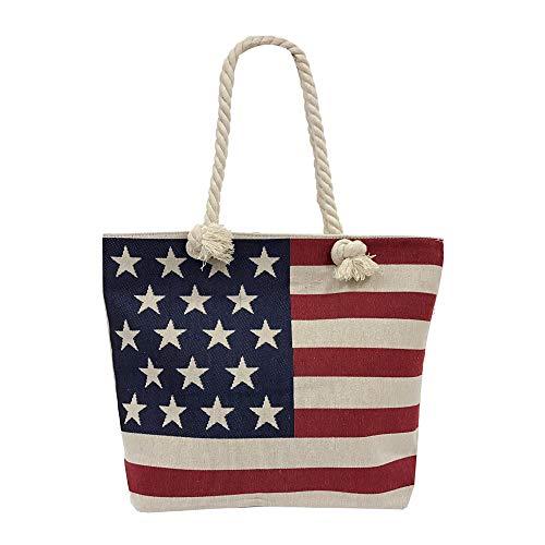 Women Tote Purse USA US American Flag Print Zipper Pocket ()