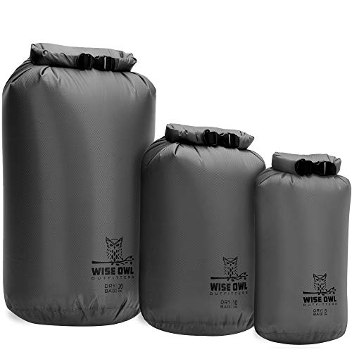 Wise Owl Outfitters Dry Bag 3-Pack - Fully Submersible Ultra-Lightweight Airtight Waterproof Bags - Diamond Ripstop Polyester Roll-Top Sacks - 20L,10L, and 5L (Grey)