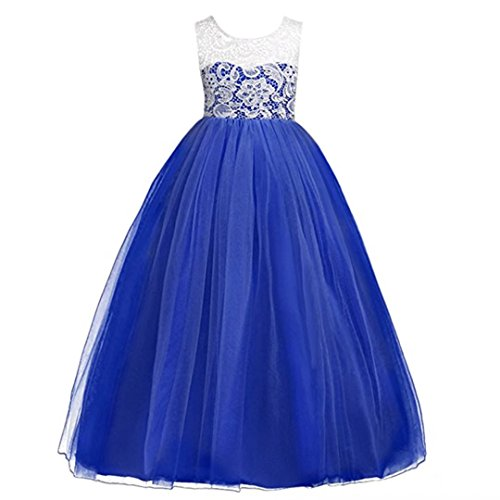 ZaH Big Gril Lace Flower Wedding Girl Party Fall Dresses(Royal Blue,10-11Y) ()