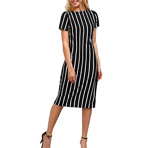 Sunmier Womens Summer Striped Crewneck Short Sleeve Casual Midi ()
