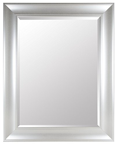 Gallery Solutions Large 39X49 Beveled Wall Mirror with Silver - Framed Silver Mirrors