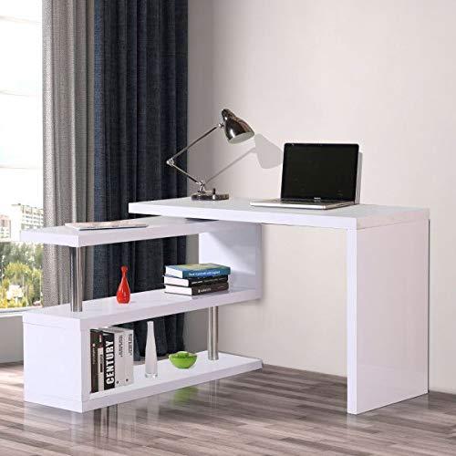 (Rotating L Shaped Computer Office Desk Corner Bookshelf Modern White Workstation Storage Shelves Space Saving Furniture Water-Resistant Desktop)