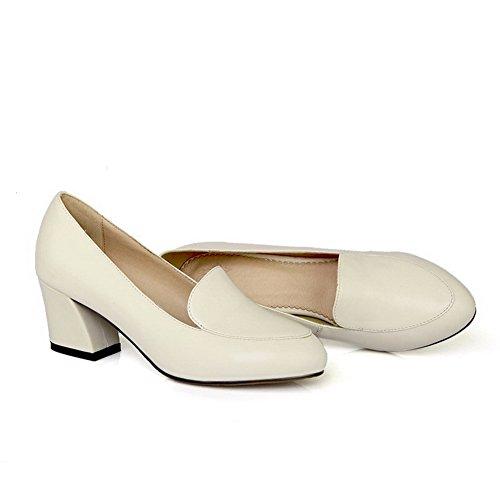Amoonyfashion Donna Punta A Punta Chiusa Tacco A Gattini Morbido Materiale Solido Caviglia-alta Pompe-scarpe Beige