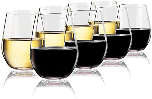 Glass Top Serving Cart - Vivocci Unbreakable Plastic Stemless Wine Glasses 20 oz | 100% Tritan Heavy Base | Shatterproof Glassware | Ideal For Cocktails & Scotch | Perfect For Homes & Bars | Dishwasher Safe | Buy 8 Pay 6