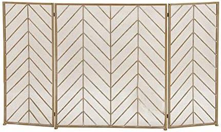 3パネル錬鉄製暖炉スクリーン、屋内屋外、幾何学的デザインのためのソリッドベビーセーフファイアガードフェンススパークガード-ゴールド (Color : Gold, Size : 70×30×80cm)