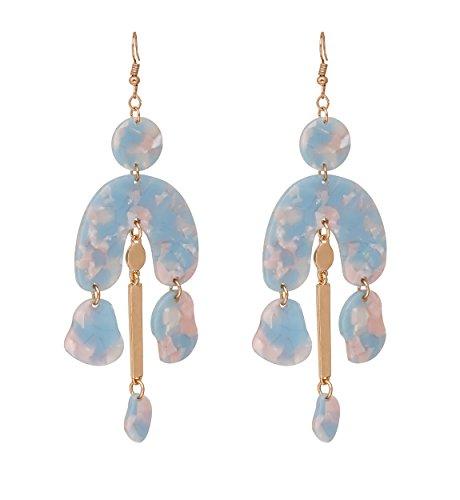 - Women's Resin Drop Earrings Marble Texture Chandelier Mottled Acrylic Earrings Hook Statement Dangle Earrings for Girls (Light Blue)