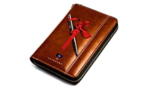 Skyborne: RFID Anti-theft smart travel wallet for men/women/unisex - organizes passports, credit cards, boarding passes, coins, has built-in wireless Qi power bank, stainless steel pen & more.