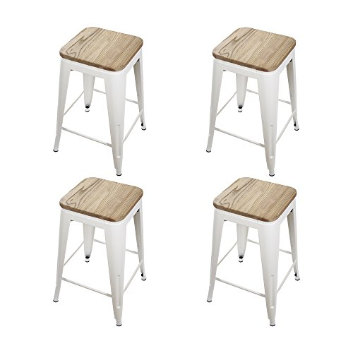 "GIA Cream White 24"" Metal Stool with Wooden Seat(Set of 4) - Counter Height Square Backless - Tolix Style - Weight Capacity of 300+ Pounds - Ready to use - Extra Durable and Stackable"