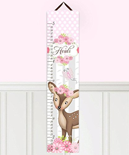 Kids Canvas GROWTH CHART Sweet Deer Pink Flowers Girls Bedroom Baby Nursery Wall Art Growth Chart GC0302 (Flowers Canvas Growth Chart)