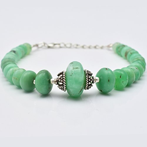 (Natural Green Chrysoprase Beads Bracelet with Sterling Silver Handmade Beaded Jewelry)