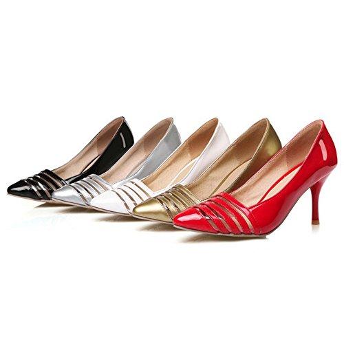 SJJH Stiletto Transparent Court Shoes with Large All Match Stripes Women Shoes Gold 5D322LLIjK