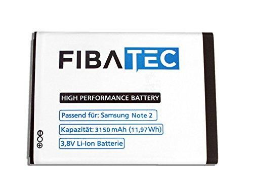 FIBAtec® I Ersatzakku POWER-AKKU Note 2 Akku, Lithium-ionen Batterie, Ersatzbatterie, Zweit-akku, Li- Ion Akkumulator I Zubehör Samsung Galaxy, Handy Ersatzteile, High Performance Battery, Accu I Samsung