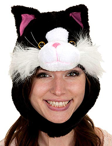 Black Tabby Cat - Plush Black & White Tabby Kitty Cat Hat With Ear Flaps