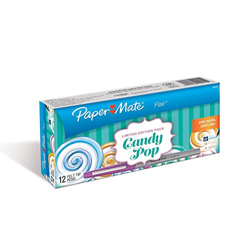 Paper Mate Flair Felt Tip Pens, Ultra Fine Point, Box of 12, Candy Pop Colors ()
