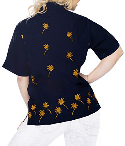 Blusas Arriba Camisa Mujer Hawaiana Azul Relajado Marino De Cortas Marino x474 Abajo La Ajuste Botón Mangas qOgqw4r
