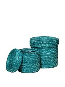 Premier Housewares - Cestas de mimbre con tapa (2 unidades), color turquesa