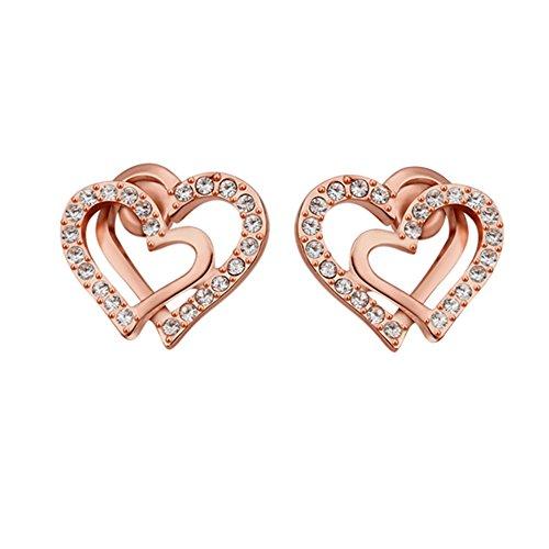 T-JULY Womens Double Heart Earrings Rose Gold Plated Womens - Gold Heart Double Earrings