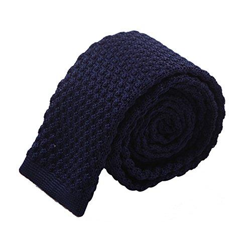 HDE Men's Skinny Knit Tie Vintage Square End 2