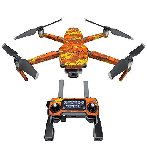Digital Orange Camo Decal Kit for DJI Mavic 2/Zoom Drone - Includes 1 x Drone/Battery Skin + Controller Skin