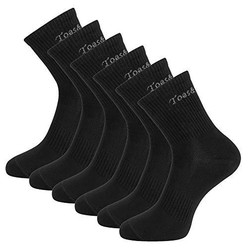 Toes&Feet Men's 6-Pack Black Deodorant Anti-Sweat Quarter Crew Athletic Socks