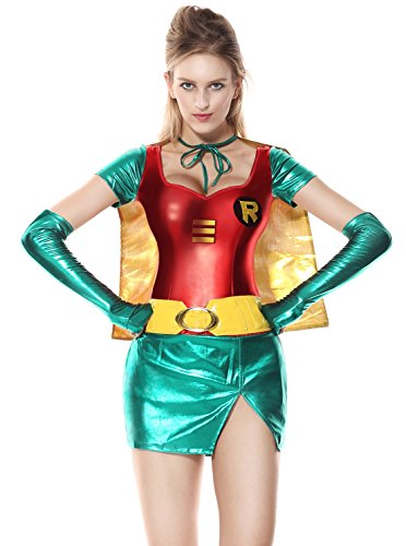 Size Hero Costumes Plus Super (Ecilu Women's Adult Sexy Robin Super Hero Plus Size Costume Red-green)