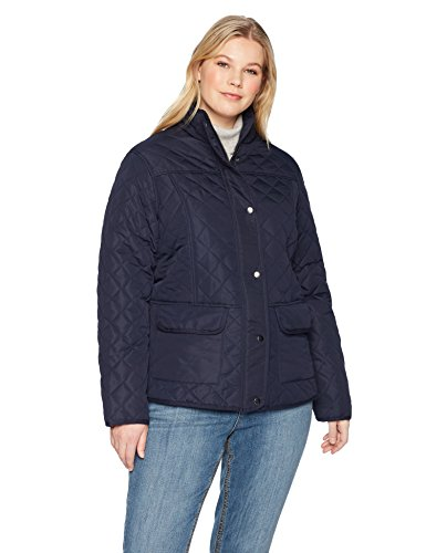 The Plus Project Women's Plus Size Quilted Puffer Down Vest with Hood 2X-Large Navy
