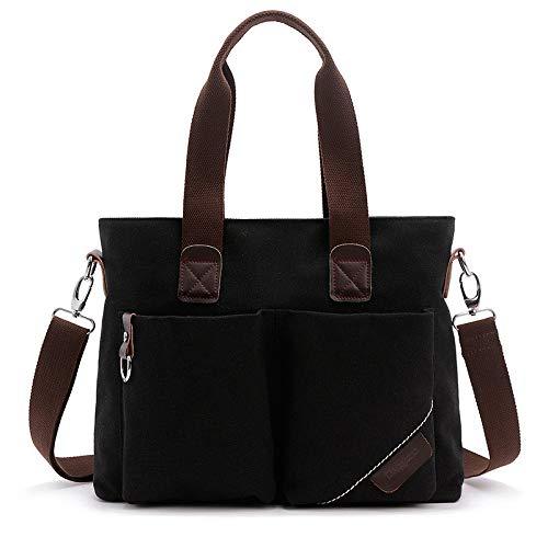 Briefcase Bag hlh Portable Canvas Computer Messenger Men's Korean Bag Simple Shoulder Hasageis negro Casual Negro wIOPxqXB