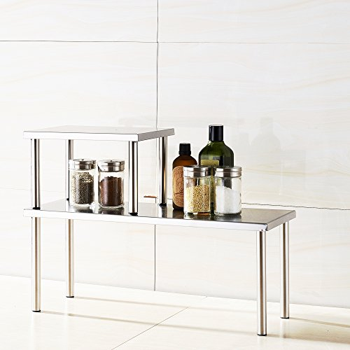 cook n home 2 tier stainless steel counter storage shelf organizer rectangle - Bathroom Countertop Storage