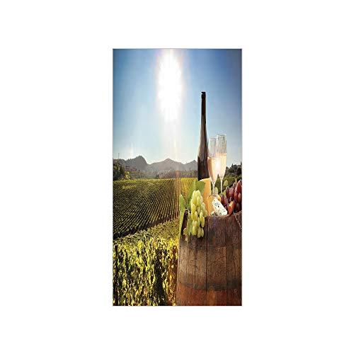 3D Decorative Film Privacy Window Film No Glue,Wine,White Wine with Barrel on Famous Vineyard in Chianti Tuscany Agriculture Decorative,Green Brown Light Blue,for Home&Office -