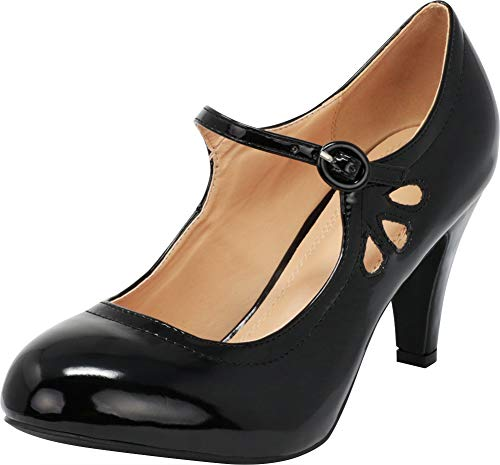 (Chase & Chloe Kimmy-21 Women's Round Toe Pierced Mid Heel Mary Jane Style Dress Pumps (6 B(M) US, Black Patent))