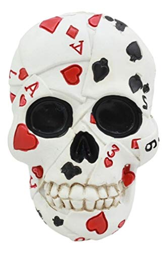 Poker Figurine - Ky & Co YK Small Gambling Den Poker Skull Beer Bottle Opener Decor Fridge Magnet Figurine