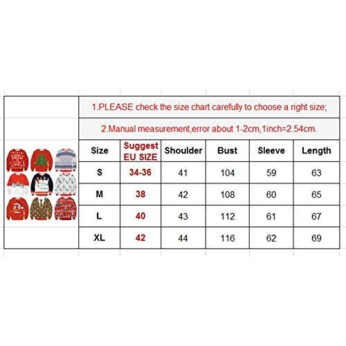 Longues Maille Pin Chemises Rouge Automne Imprimer Casual Unique Femmes En Sweat Sport Élégant Mode Shirt Noël Printemps Pull Vêtements Manches Rond Col up wxnOFgq