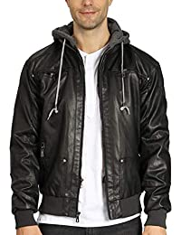 Men's Casual Faux Leather Jacket with Removable Hood Pu Winter Outwear
